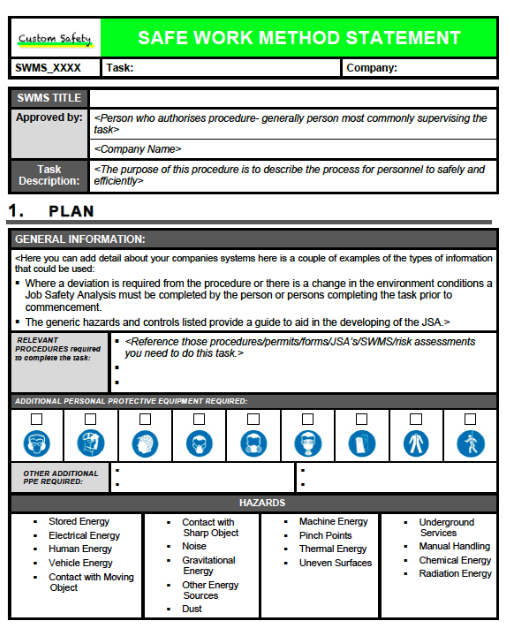 Custom Safety U0026 Engineering  Method Statements Template