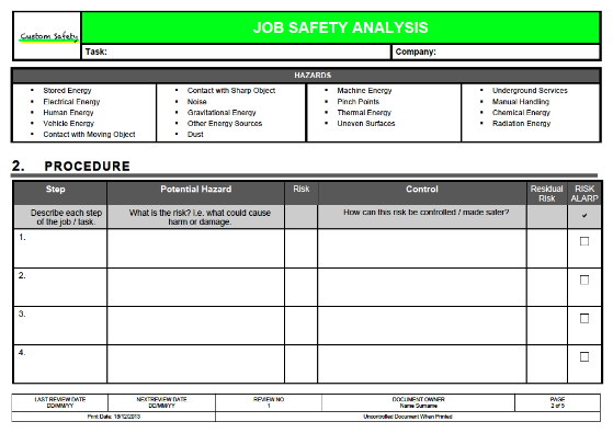 job safety analysis template risk ranked landscape. Black Bedroom Furniture Sets. Home Design Ideas