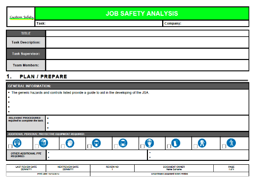 Job Safety Analysis Template Risk Ranked (Landscape)