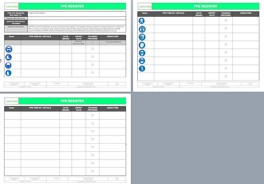 equipment issue form template