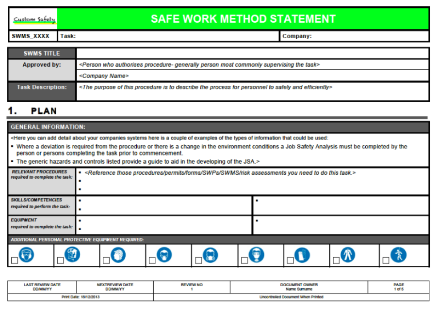 Nice Custom Safety U0026 Engineering With Method Statements Template