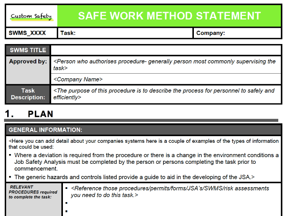 Safe Work Method Statement Portrait Workplace Oh S Induction 20