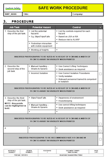 Safe Work Procedure Template Portrait
