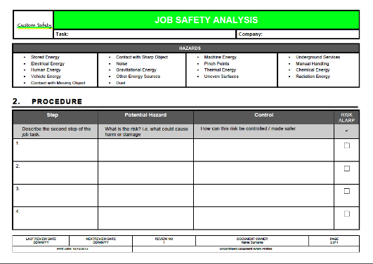 Job Safety Analysis Template (Landscape)  Job Safety Analysis Form Template